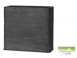 Ribbed Black Tall Trough Planter
