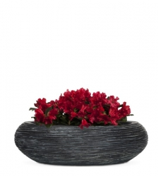 Ribbed Black Bowl Planter