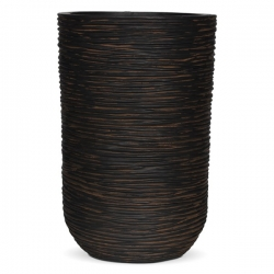 Ribbed Brown Tall Cylinder Planter