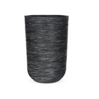 Ribbed Tall Black Cylinder Planter