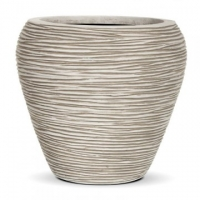 Ribbed Round Tapered Ivory Vase