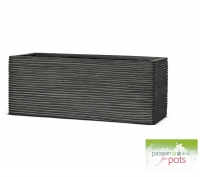 Ribbed Black Trough Planter